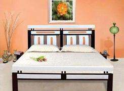 giường sắt hộp kiểu gỗ cao cấp 1m6x2m(nhiều kích thước)